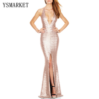 Brand New Womens Spring Dresses Fashion Maxi Shiny Sequin Sexy Deep V Neck Backless Long Casual Party Elegant Dress