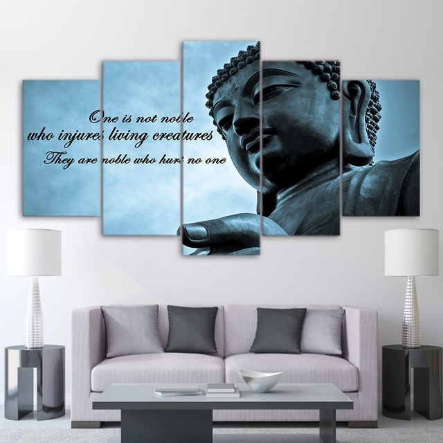 Wall Art Frame Pictures Hd Printed 5 Pieces Huge Buddha Statue Zen