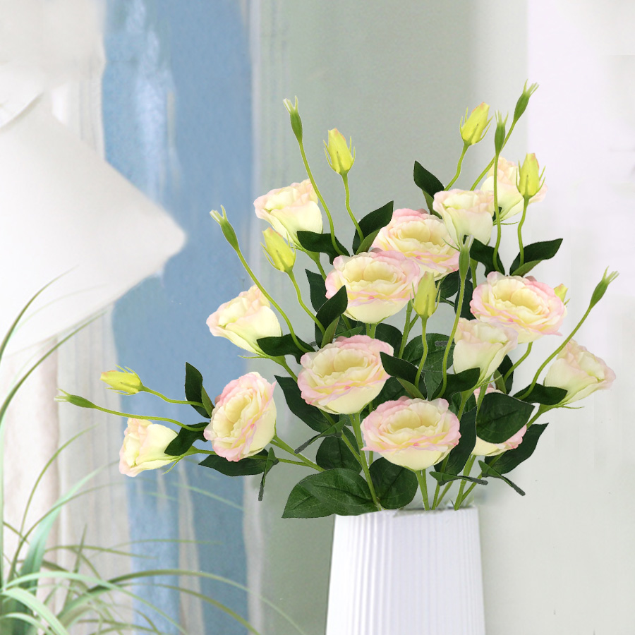 4 Heads 70cm Artificial Fake Flowers Pink White Faux Eustoma Silk