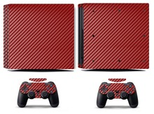 Red Carbon Fiber PS4 Pro Skin Sticker Vinyl Decal