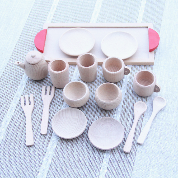 Baby Toys Nature Beech Wood Tea Set Wooden Toys Cup Set Pretend Play Kitchen Toys Educational Infant Birthday Gift kitchen simulation toys for children cake decorating wooden toys afternoon tea set birthday cake baby toysgift