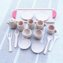 Baby Toys Nature Beech Wood Tea Set Wooden Toys Cup Set Pretend Play Kitchen Toys Educational Infant Birthday Gift baby toys simulation vegetable fruit seafood wooden toys for kids cut set prentend play large food set educational birthday gift