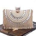 Luxo Cristal Strass Noite Segurando Sacos de Pérolas Borla Diamante Clutch Bag Para Lady Casamento Nupcial Elegante Saco Banquete 1074
