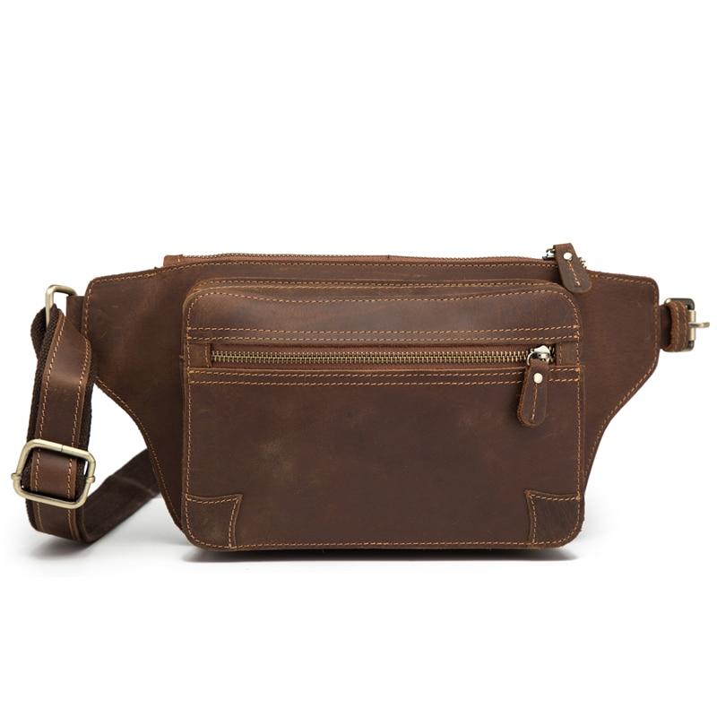 Genuine Leather Men's Fanny Waist Packs Sling Chest Bag Leg Hip Hop Mini Waist Pouch Male Bum Belt Bag Vintage Large Beltbag New