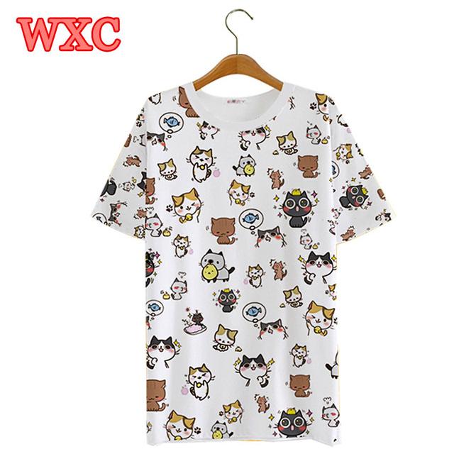 Japonês kawaii neko atsume camiseta bonito dos desenhos animados 3d cat imprimir encabeça tee harajuku anime the cat quintal wxc das mulheres camisas de verão