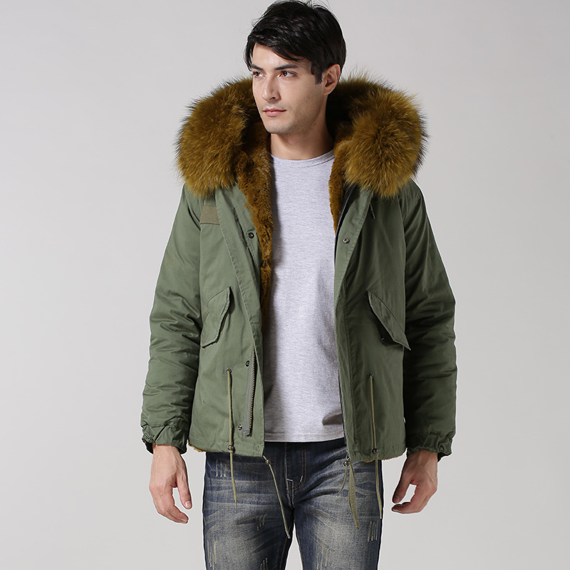 faux fur lining Male winter coat with big raccoon fur hood ...