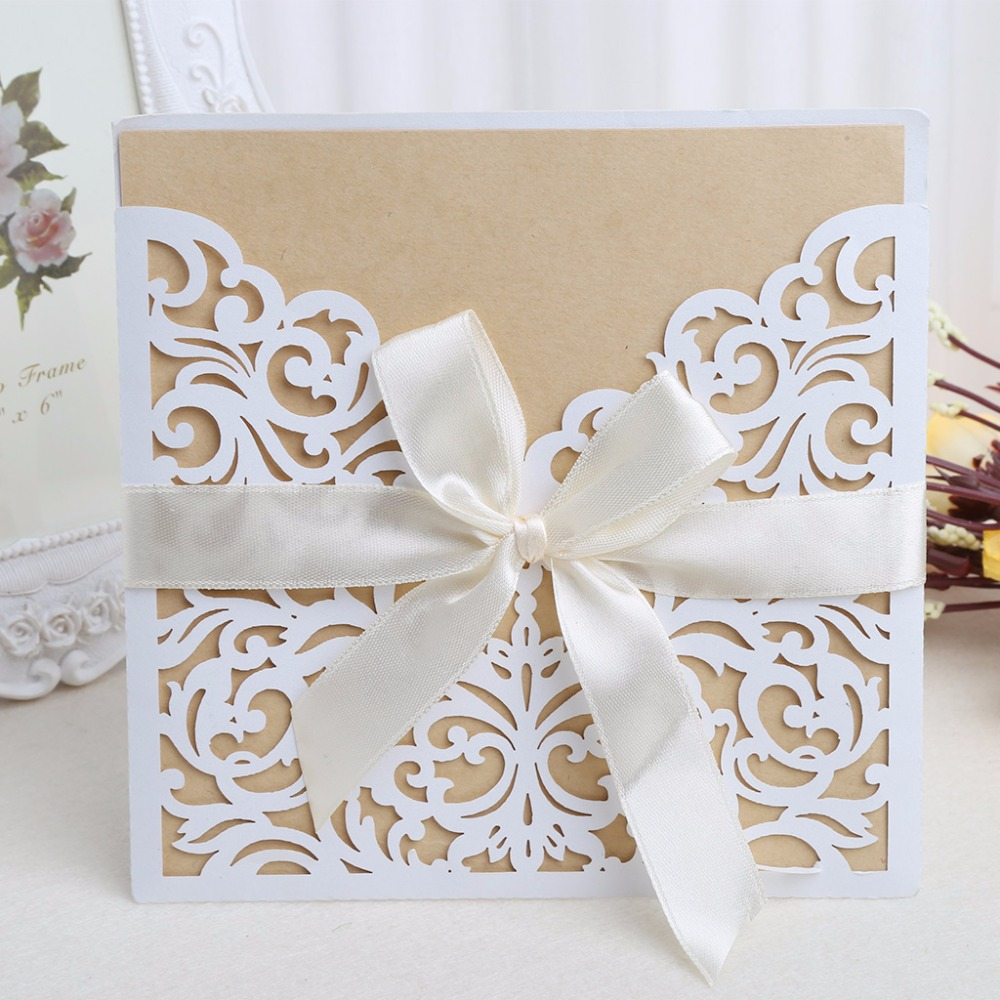10Pcs Wedding Invitation Cards Kit with Envelopes Seals Personalized Printing
