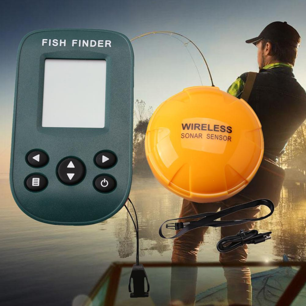 X9 Portable Dot matrix Fish Finder Wireless Sonar Sensor Fishing Sounder Alarm Depth 0.6-100M For Lake Sea Fishing Tackle Fishin lucky ffw1108 1 color lcd display portable wireless sonar fish finder water resistant 40m 120ft depth sonar sounder alarm b9