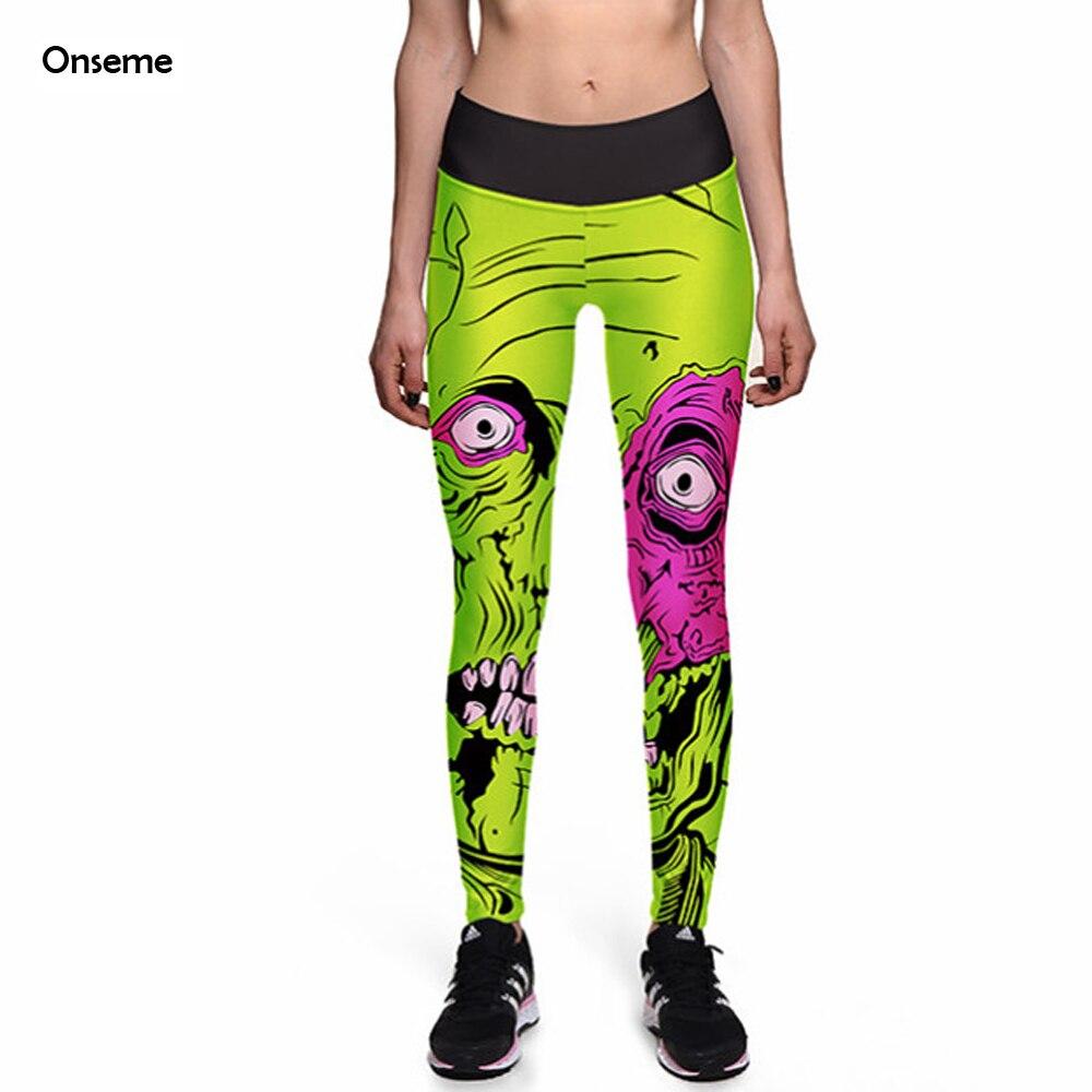 Onseme Leggings 2017 Fashion New Legging Big Eye Monster Green 3D Print font b Women b