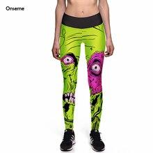 Onseme Leggings 2017 Fashion New Legging Big Eye Monster Green 3D Print Women Pants Hot Trousers Ropa Mujer Sportwear Leggins