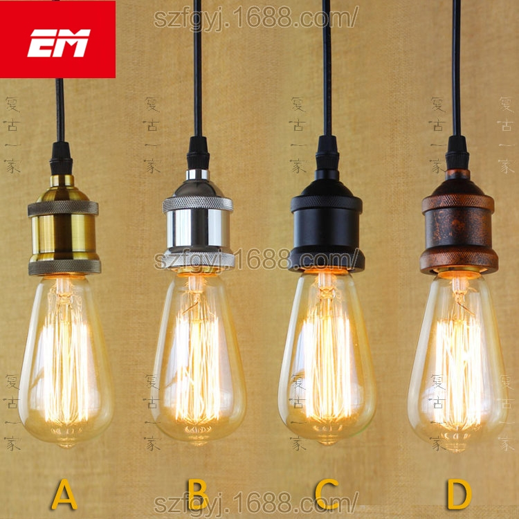 Retro pendant lamp chrome holder hanging lights bulb holder with switch Vintage pendant lighting E27 bulbs holder ZDD0006