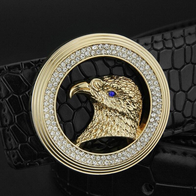 2018 High Quality round buckle eagle belt men 3.8cm wide cintos masculinos brand luxury designer Waist Strap fashion belt male