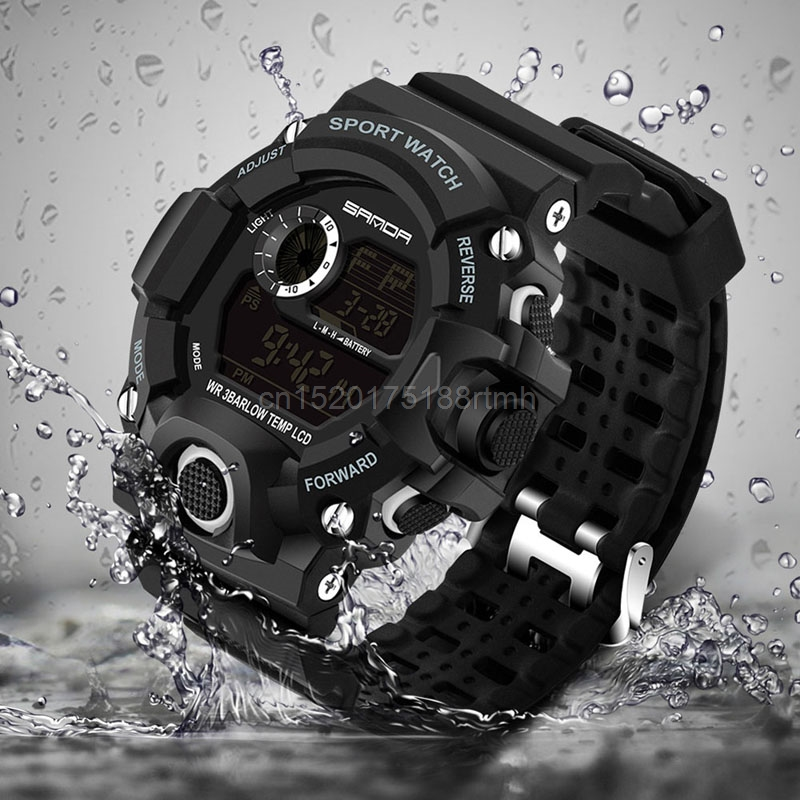 30m Waterproof Digita Date Alarm LED Luminous Stopwatch Sport Military Men Watch