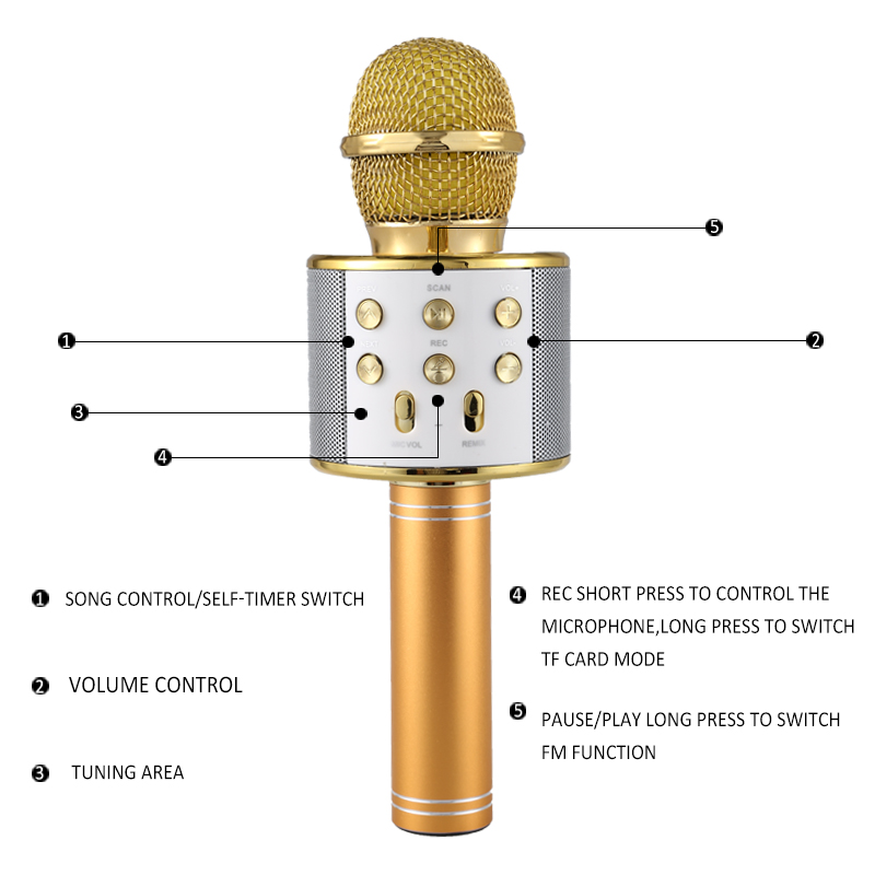 wireless karaoke player recording singing microphone. Black Bedroom Furniture Sets. Home Design Ideas