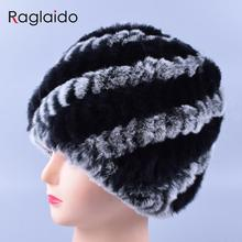 Women Genuine Knitted Rabbit fur hats for women Real Fur Beanies Rex Fur Pom poms snow