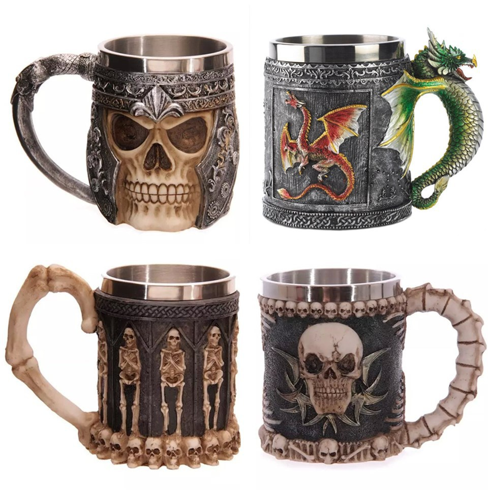 3D Stainless Steel Liner Drinking Skull Mug Resin Skull Tankard Horror Decor Skull Cup for Halloween