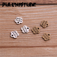 PULCHRITUDE 100PCS 8*8mm Metal Alloy Two Color Double Letter Florets Charms Pendants for Jewelry Making DIY Handmade Craft cheap Zinc Alloy Flowers Fashion 3E06 TRENDY antique silver antique bronze 1mm=0 0393inch 1inch=25 4mm 0 2g