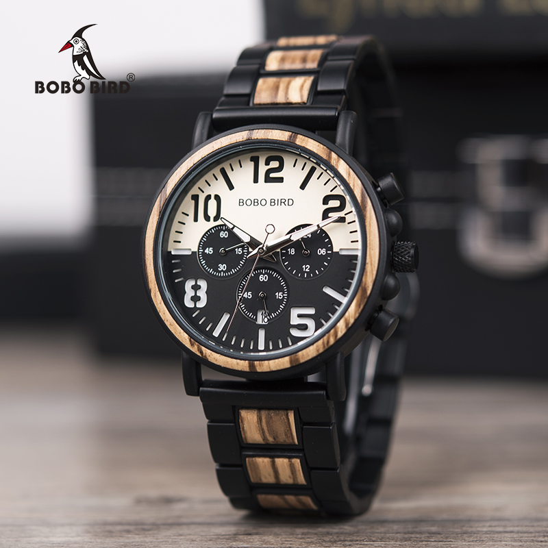 BOBO BIRD Relogio Masculino Business Men Watch Metal Wooden Wristwatch Chronograph Date Display
