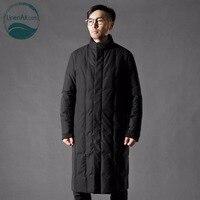 LinenAll men's down jacket men's winter 100% cotton thick down jacket male over knee down men QF