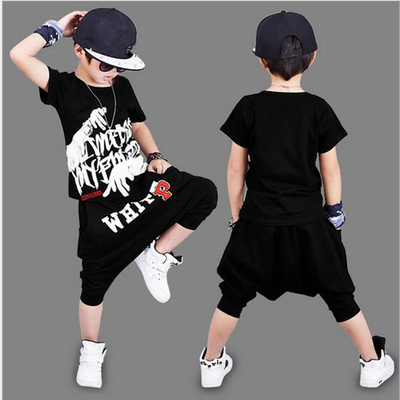 2018 Summer Boy Sport Print Letter Clothes Set Short Sleeve+Harem Pants Kid School Hip Hop Clothes Boy Perform Clothes Set Hot 2017 brand summer boy sport print a clothing set short sleeve t shirt short pants summer boy school fashion clothes set