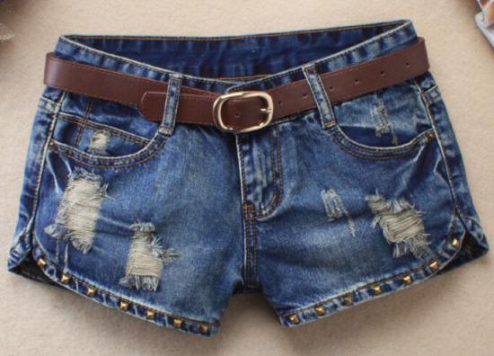 Hot 2016 Clube Rasgado Curto Femme Sexy Do Punk Rebite Buraco Mini Shorts Jeans 2015 Calções de Verão Mulheres Shorts Jeans Sem cinto