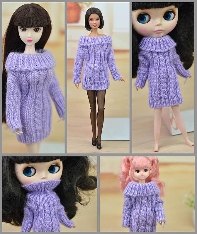 Pure Manual Doll Accessoarer Stickade Handgjorda Tröjor Toppar Coat - Dockor och tillbehör - Foto 2