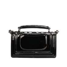 MAIDUDU Patent Leather Rhinestone V-shape Patchwork Women Handbags Small Fragrance Fashion Chain Ladies Shoulder Messsenger Bags