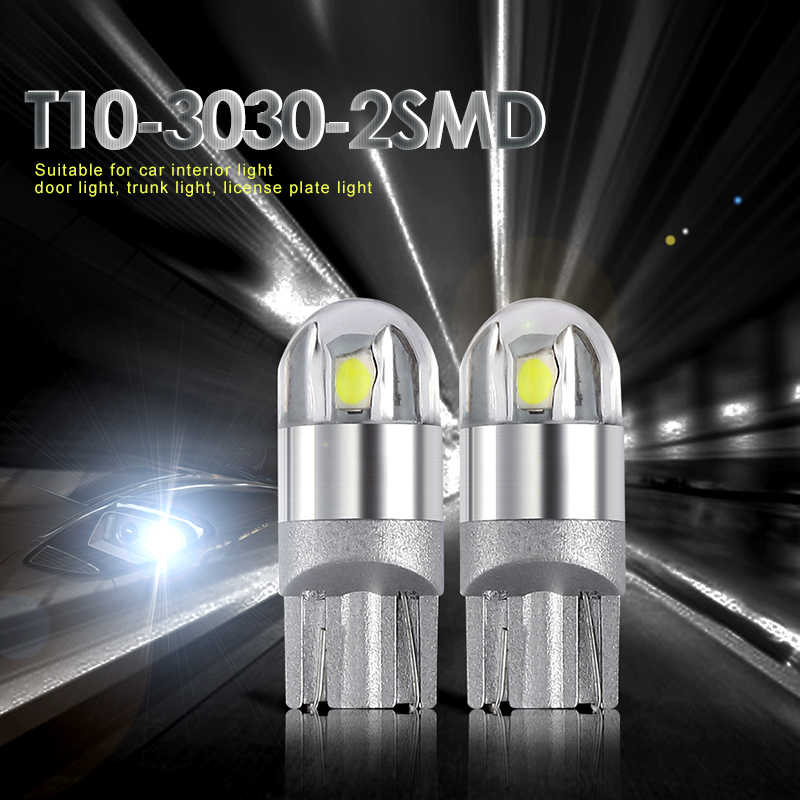 2 PCS T10 LED W5W 194 12V 3030 2 SMD Car Light Bulb Auto LED Clearance Lamps Trunk Bulbs Parking Lights Interior Dome Door Lamp