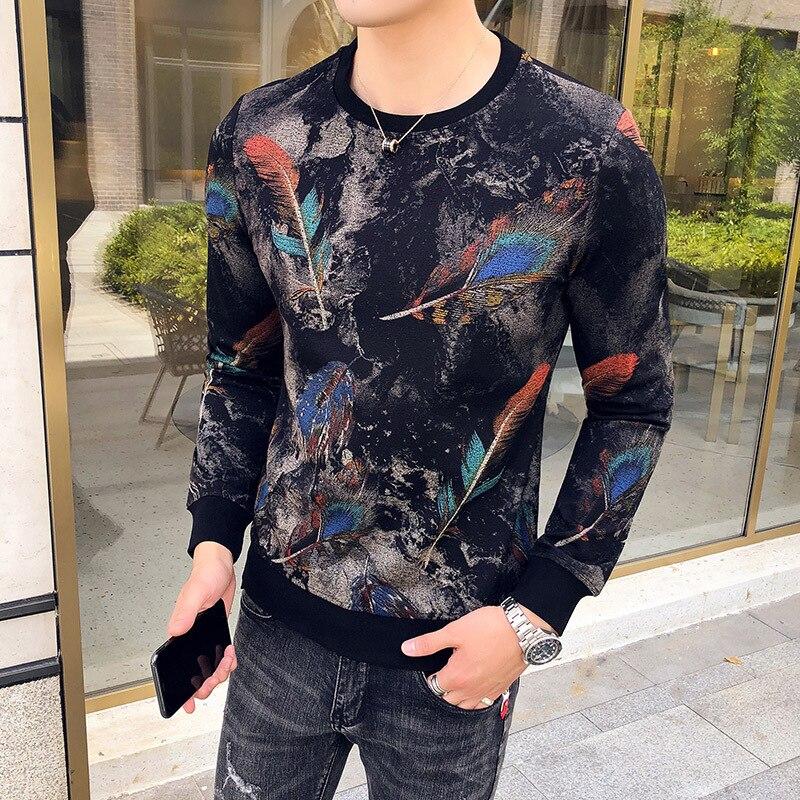 Automne vêtements angleterre 3D plume sweat fantaisie pull à capuche col rond hommes Slim Fit sweat hommes Moletom Masculino