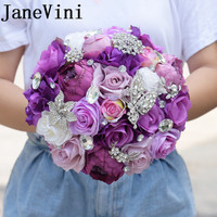 JaneVini 2018 Chic Purple Roses Bridal Bouquets For Wedding Bridal Bouquet Brooch Crystal Flowers Bouquet De Mariage Artificiel