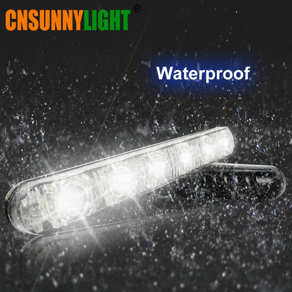 CNSUNNYLIGHT LED DRL Kit Daytime Running Light Waterproof 6 LEDs Universal Auto Driving Work Light External Fog Lamp 6000K 12V (10)