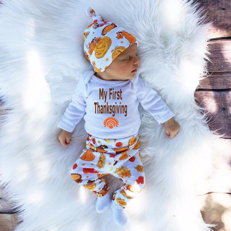 2016 Autumn Baby Boy Clothes Set My First Thanksgiving Romper+Trousers+Hat 3pcs Outfit Suit Newborn Toddler Girls Clothing Set-1