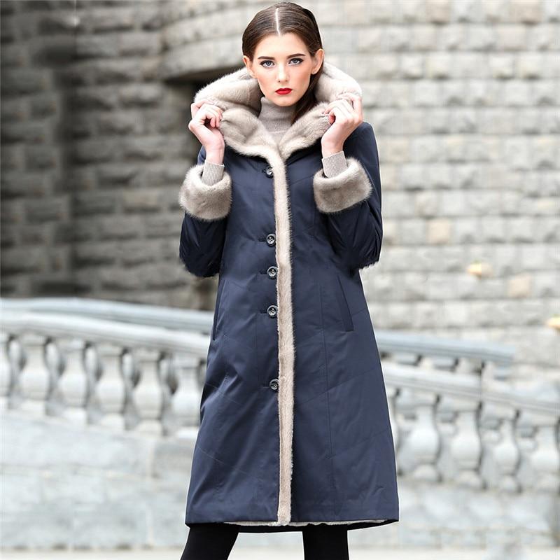 Fur Coat Women Blue XL 2XL 3XL Plus Size Long Sleeve Hooded Jacket 19 New Spring Winter Korean Long Slim Thick Warmth Coat LD884