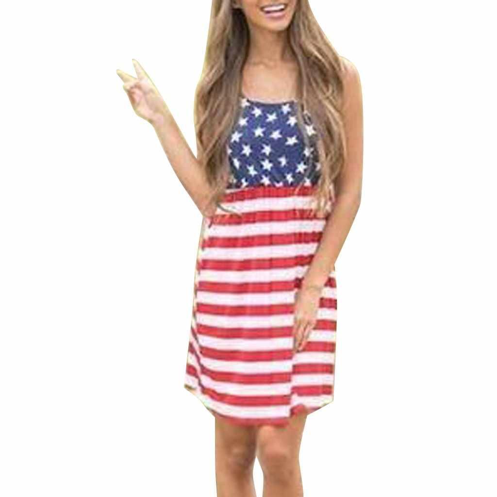 Женское повседневное патриотическое платье миди в полоску с принтом