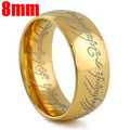 2016 Midi Ring Tungsten One Ring of Power Gold the Lord of Ring 8MM Lvers Women and Men Fashion Jewelry Wholesale Free Drop ship