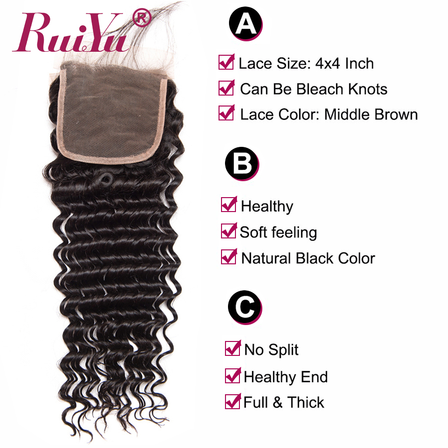 Image 4 - Brazilian Deep Wave Bundles With Closure 100% Human Hair 3 Bundles With Lace Closure Remy Hair Weave Double Weft RUIYU Hair-in 3/4 Bundles with Closure from Hair Extensions & Wigs