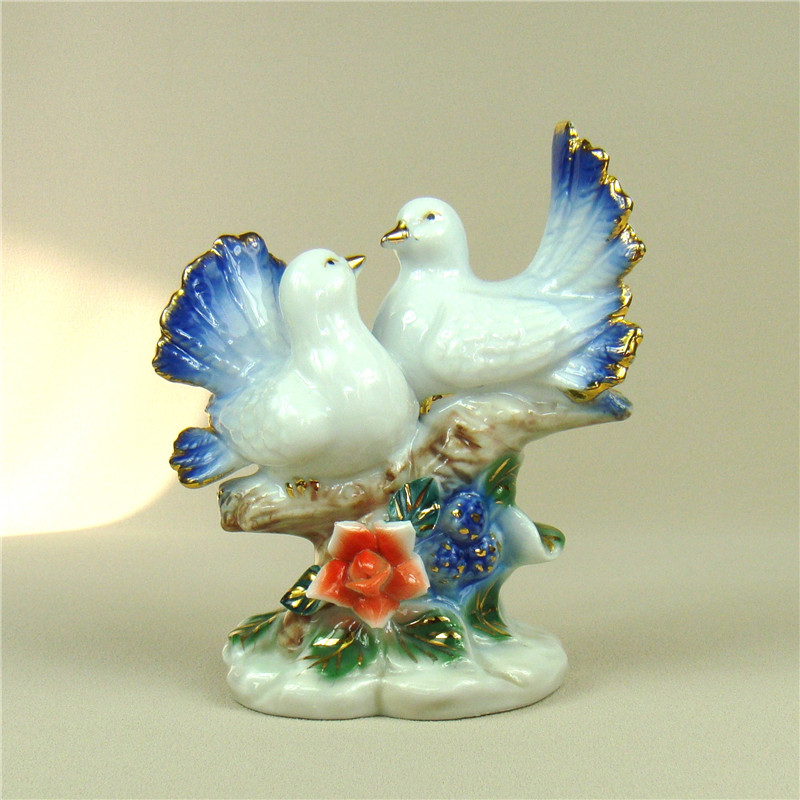 Home Decoration And Furnishing Articles Couple Characters: Porcelain Couple Bird Figurine Pastoral Ceramics Birdie