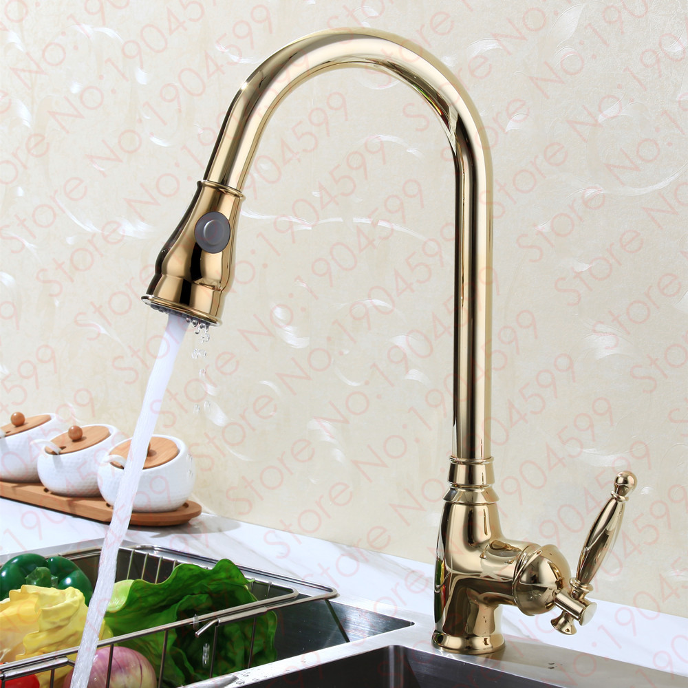 Aliexpress Com Buy Luxury Gold Pull Down Kitchen Faucet