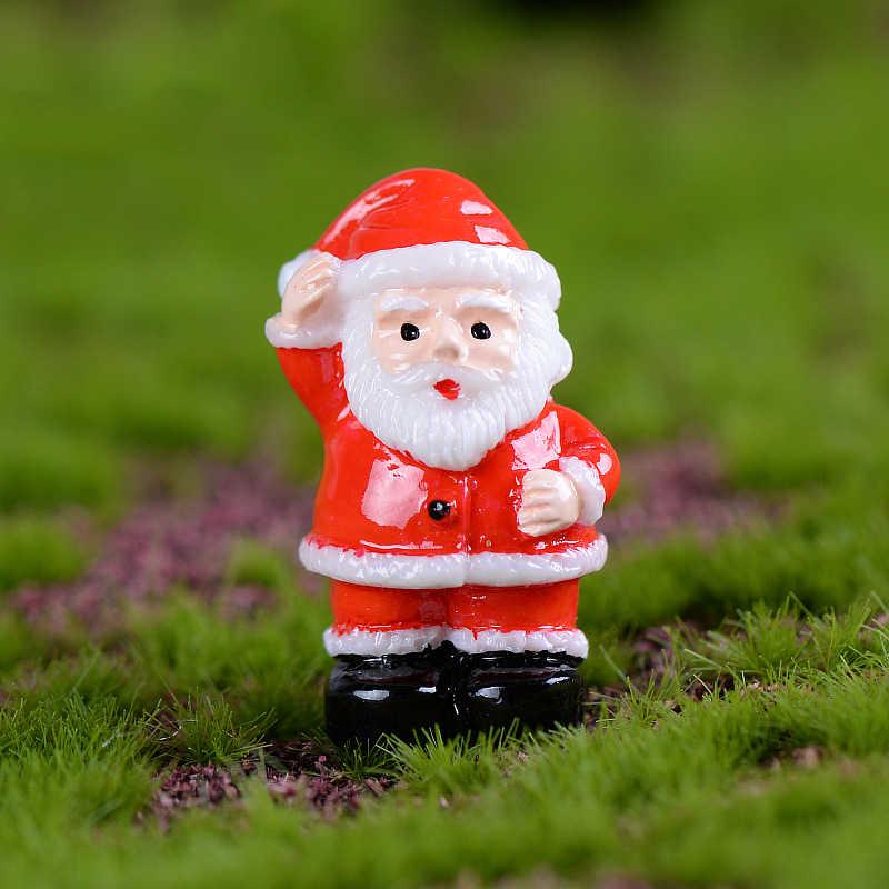 WHISM Fairy Garden Figurines Doll House Decor Resin Miniature Christmas Tree Santa Claus Snowmen Gift Box Terrarium Accessories