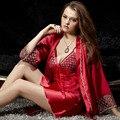 Мода Красный Три Четверти Халат Устанавливает Женщины Сексуальные Кружева Ночные Рубашки Twinset Pijamas Modelos Femininos V-образным Вырезом Шелкового Пижамы