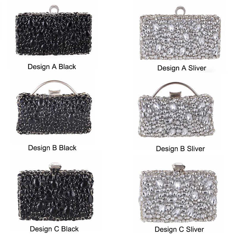 0c5715d7dc4 Crystal Evening Bag Beaded Day Clutches Lady Wedding Purse Rhinestones  Handbags Silver Black Evening Clutch Bags for Women