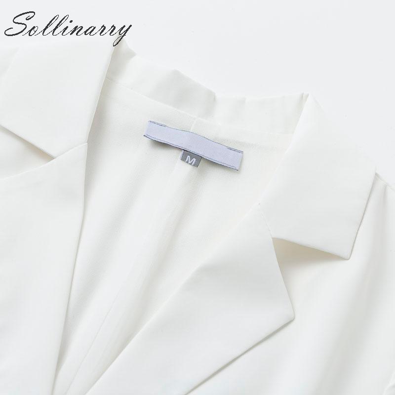 Sollinarry White Blazer Pleated Elegant Dress Women Blazer Automn Winter Sexy Short Dress Female Party OL Dress Vestidos in Dresses from Women 39 s Clothing