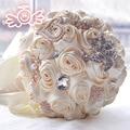 Gorgeous beaded crystal artificial wedding bouquets satin rose bridesmaid flower bouquet pearl bridal bouquets buque de noiva