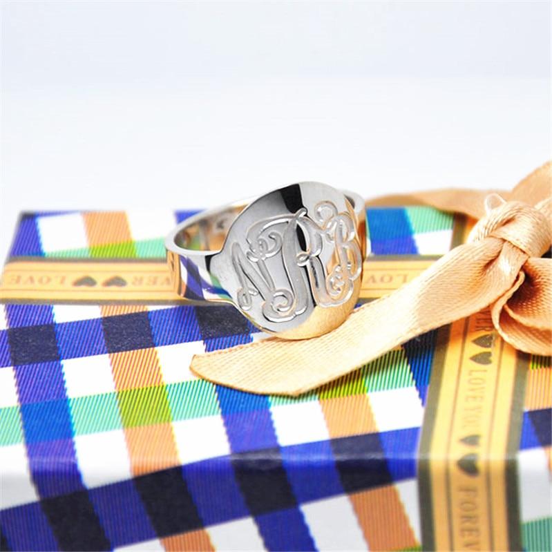 Anel De Sinete De Prata sólida Mão Anel de Monograma Selo Gravado Personalizado 3 Iniciais Jóias