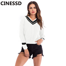 CINESSD Women Striped Pullover Sweaters White&Black V Neck Long Sleeves Patchwork Knit Casual Tops Tunic Autumn Loose Sweaters white v neck cold shoulder long sleeves sweaters