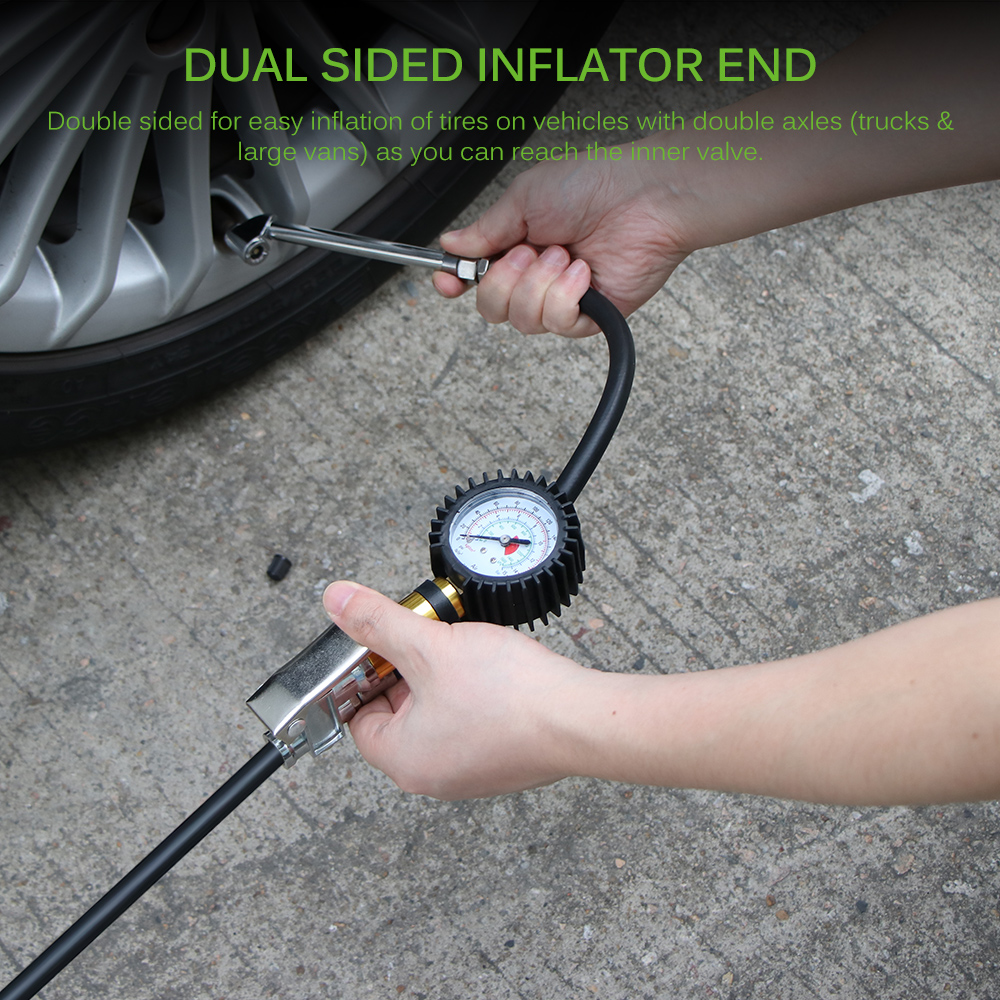 1PC 0-220 PSI Air Tire Inflator Digital Gauge Dual Chuck Tire Ball Bike Inflator