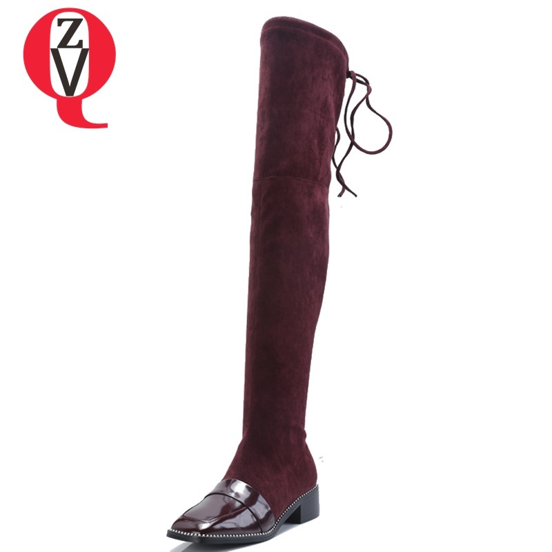 ZVQ 2018 new faux suede fashion square toe women over knee boots winter warm low squre heel lace-up black and wine red shoes zvq 2018 new popular kid suede embroider women shoes super high square heel pointed toe zip black winter warm over knee boots