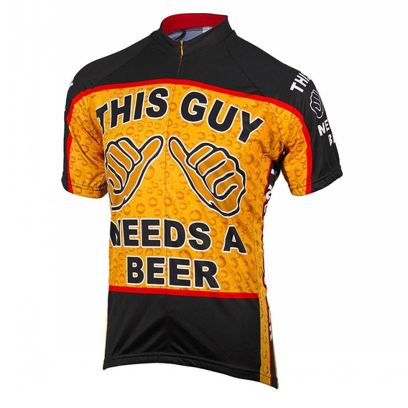 This Guy Need A Beer Mens Summer Funny Cycling Jersey Short Sleeve