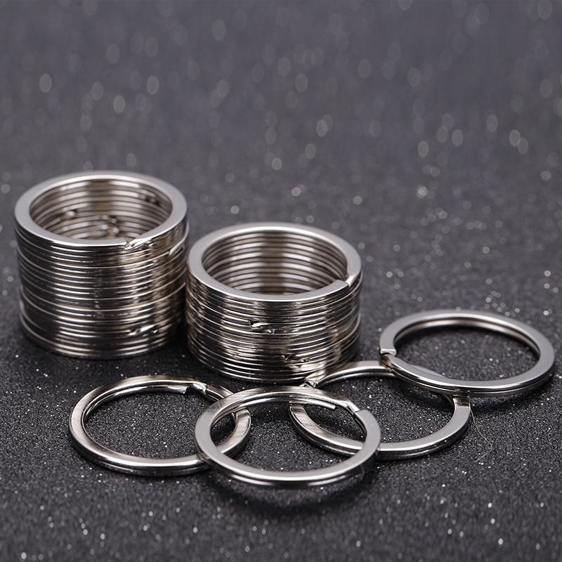 Lot Silver Multiple Key Rings Round Loop Split Stainless Nickel Accessory 25mm