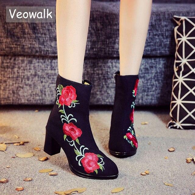 Veowalk Cao Cấp Thêu Hoa Nữ Cotton Ngắn Cổ Chân Giày Dép Nữ Cao Gót ống Bơm Giày cho Nữ